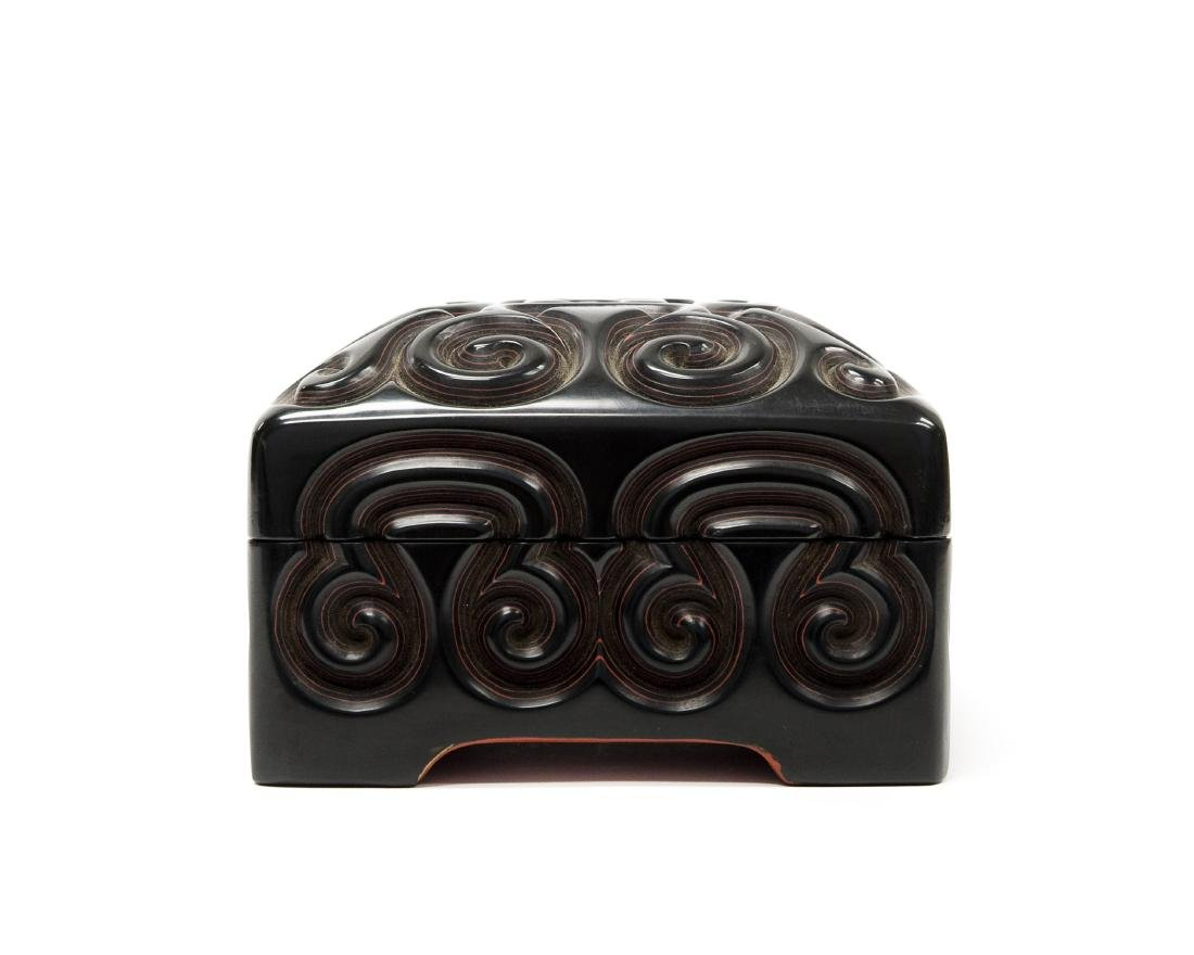 Oriental Carved and Lacquered Lidded Box.