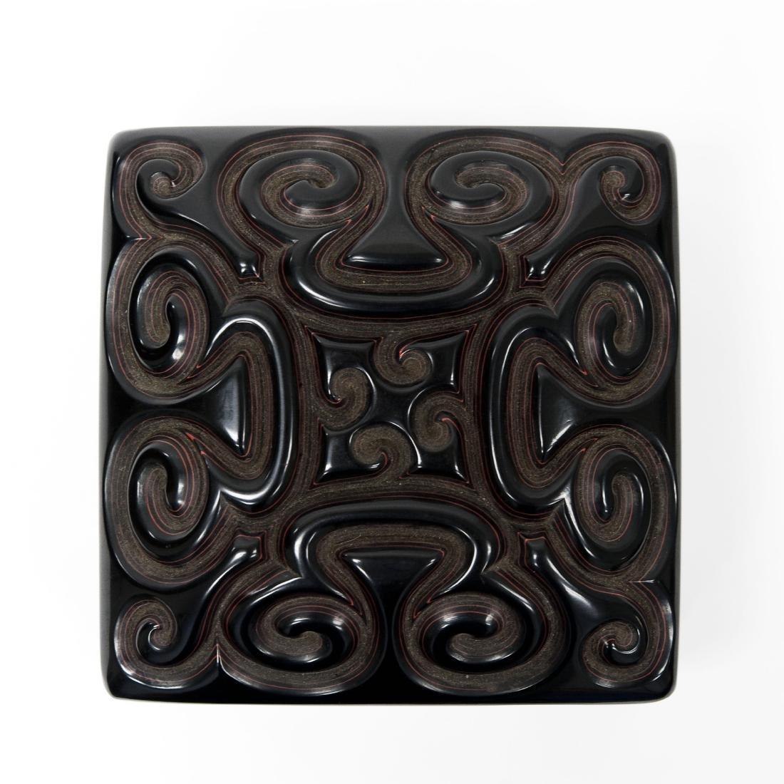 Oriental Carved and Lacquered Lidded Box. - 3