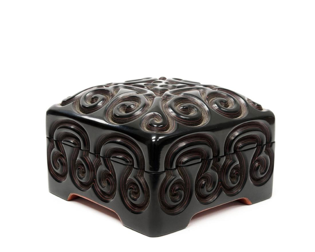 Oriental Carved and Lacquered Lidded Box. - 4