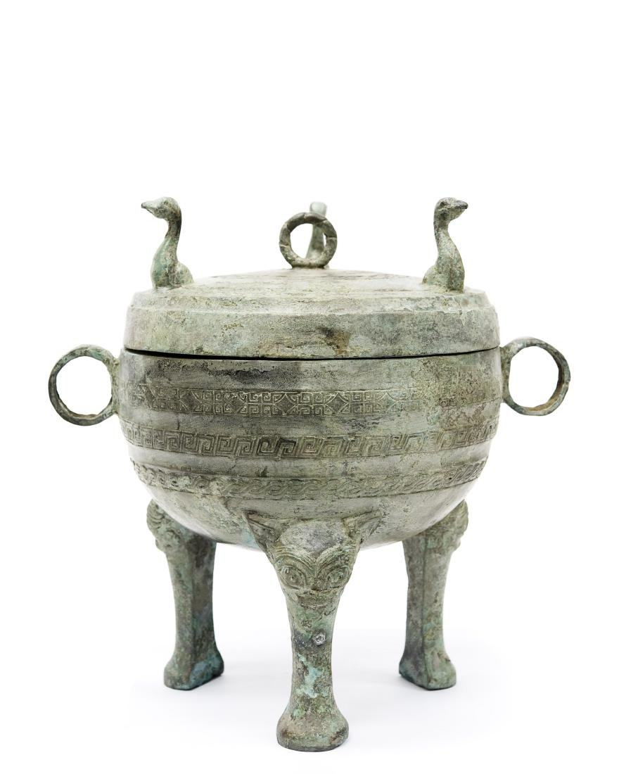 Oriental Patinated Metal Lidded Dish.