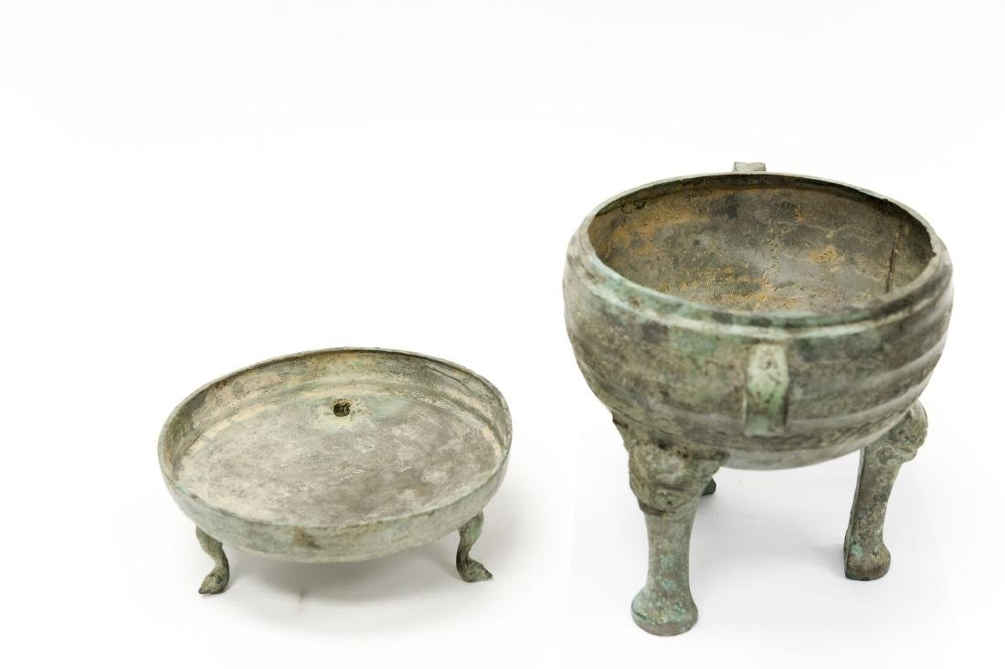 Oriental Patinated Metal Lidded Dish. - 8