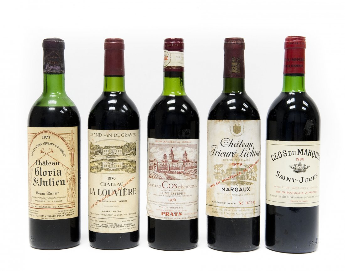(5) Bottles, Assorted Bordeaux Red Wines.