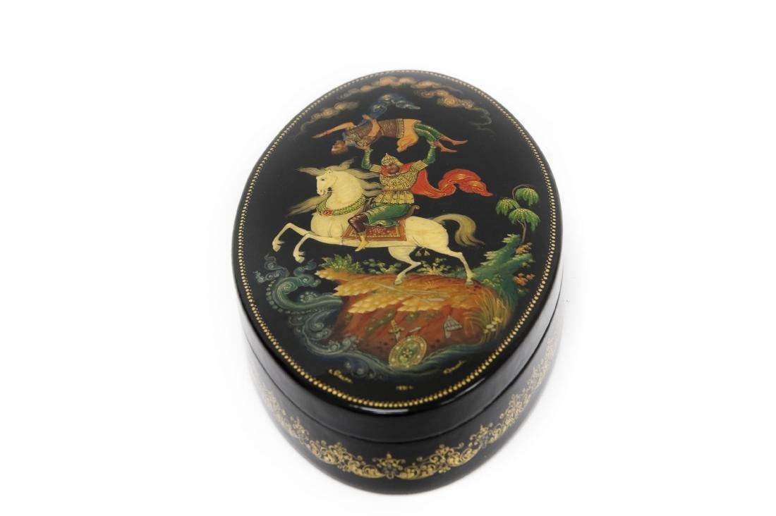Krilov Palekh Russian Lacquer Box.