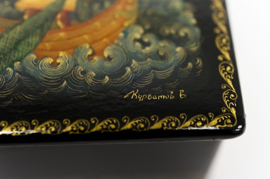 Palekh Russian Lacquer Box. - 6