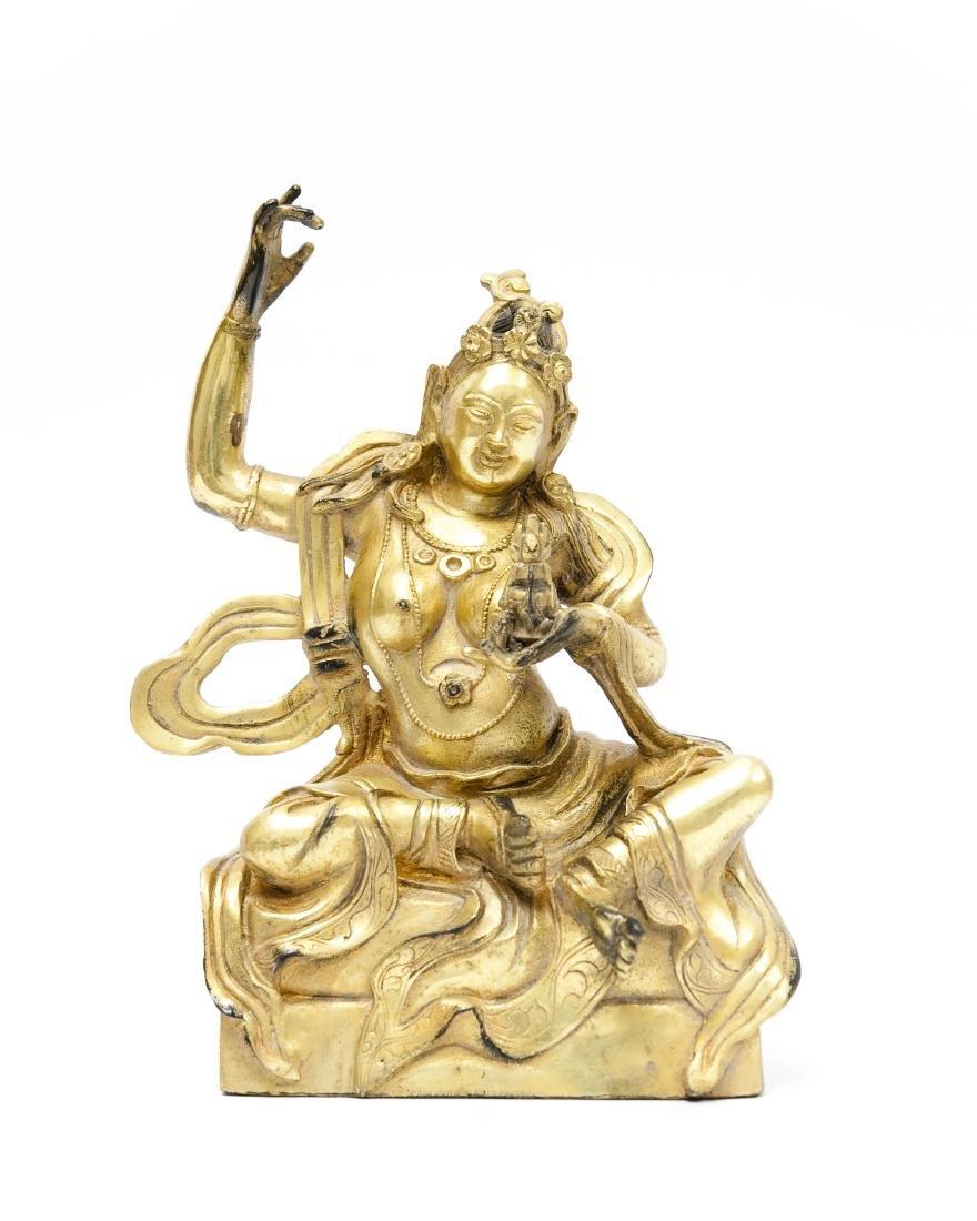 Chinese Gilt Bronze Seated Figure.