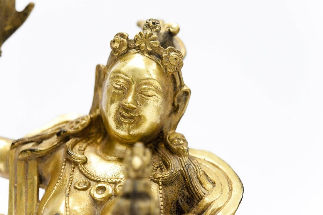 Chinese Gilt Bronze Seated Figure. - 5