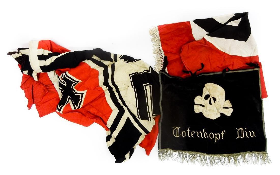 German World War II Flag and 2 Banners.