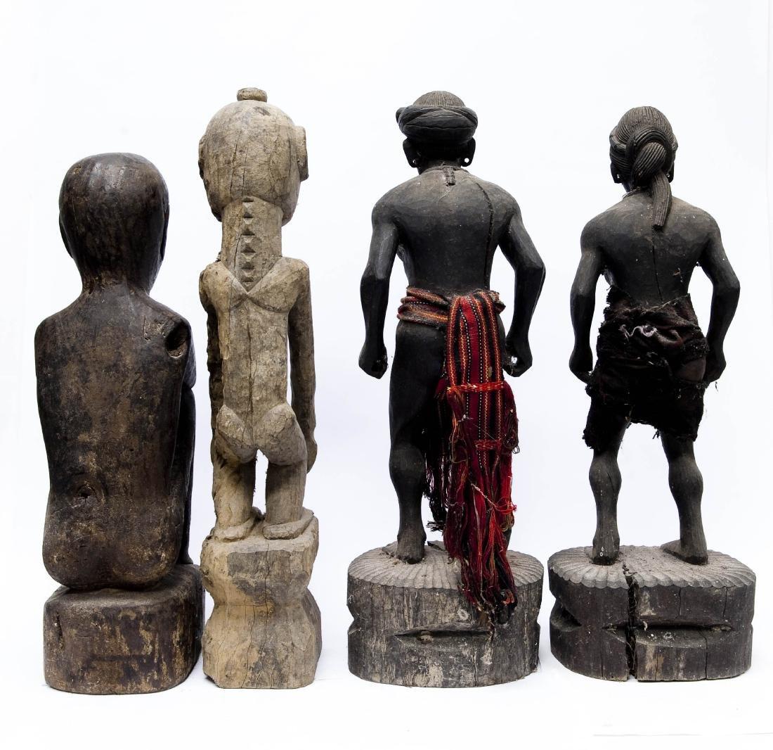 (4) Carved Wood Tribal Figures. - 2