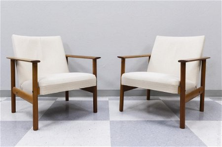 Pair of Mid 20th C. Modern Teak Armchairs.
