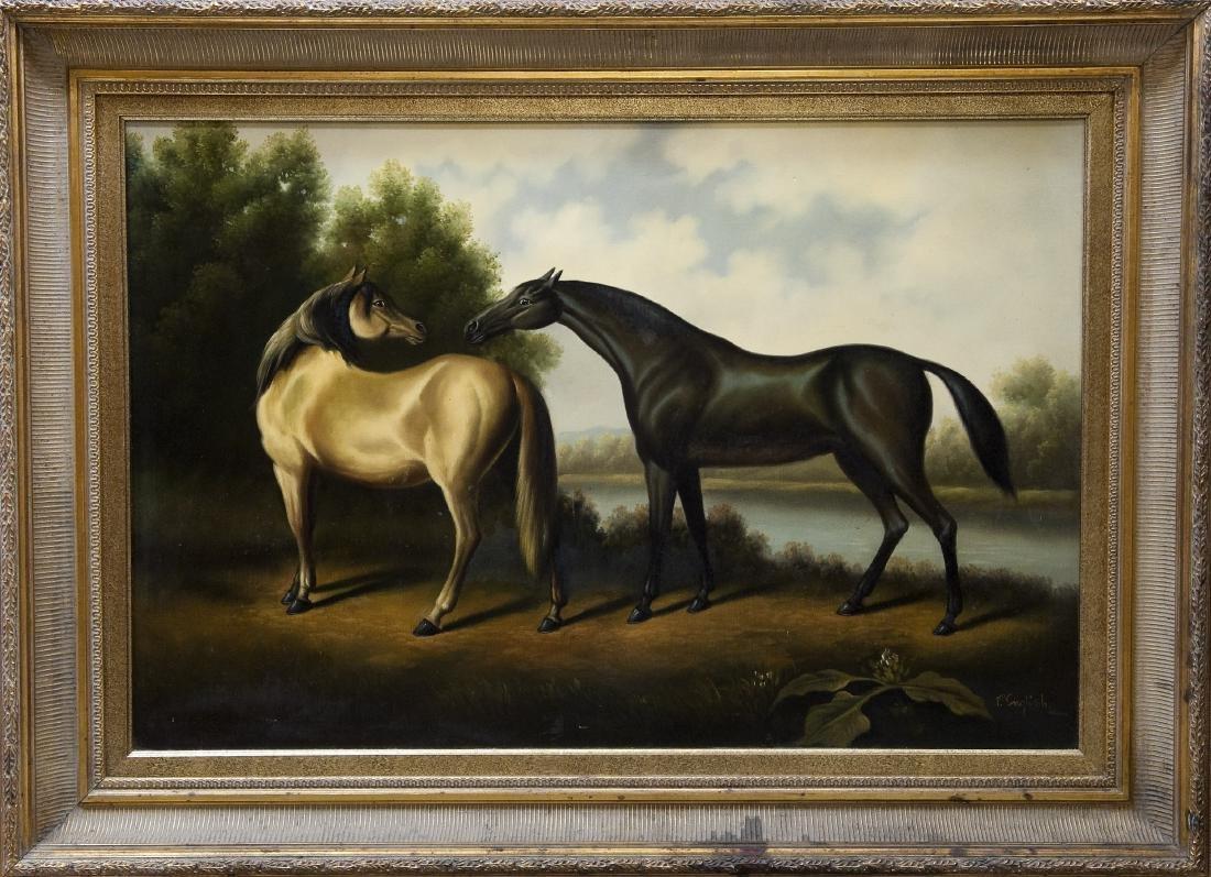 Gilt Framed Oil on Canvas, Two Horses.