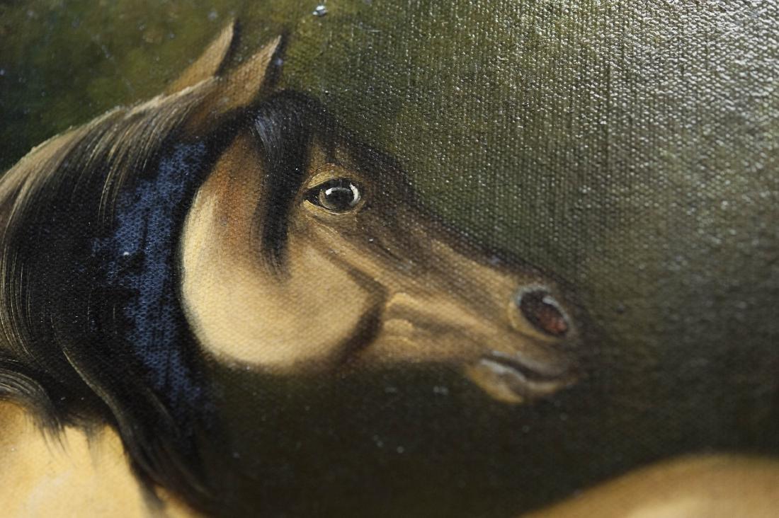 Gilt Framed Oil on Canvas, Two Horses. - 3