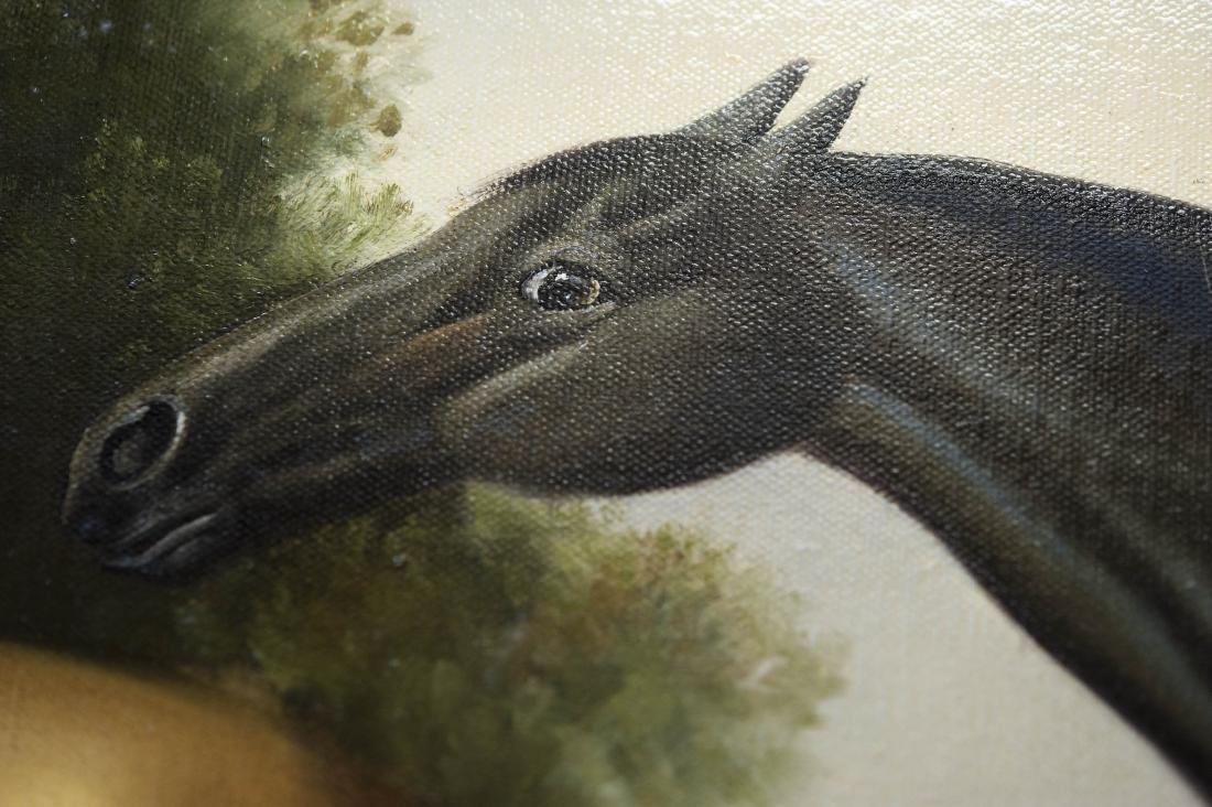 Gilt Framed Oil on Canvas, Two Horses. - 4