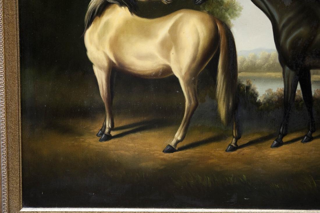 Gilt Framed Oil on Canvas, Two Horses. - 5