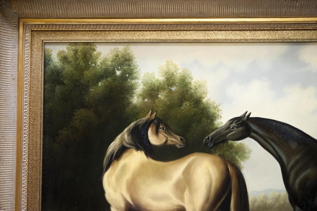 Gilt Framed Oil on Canvas, Two Horses. - 6