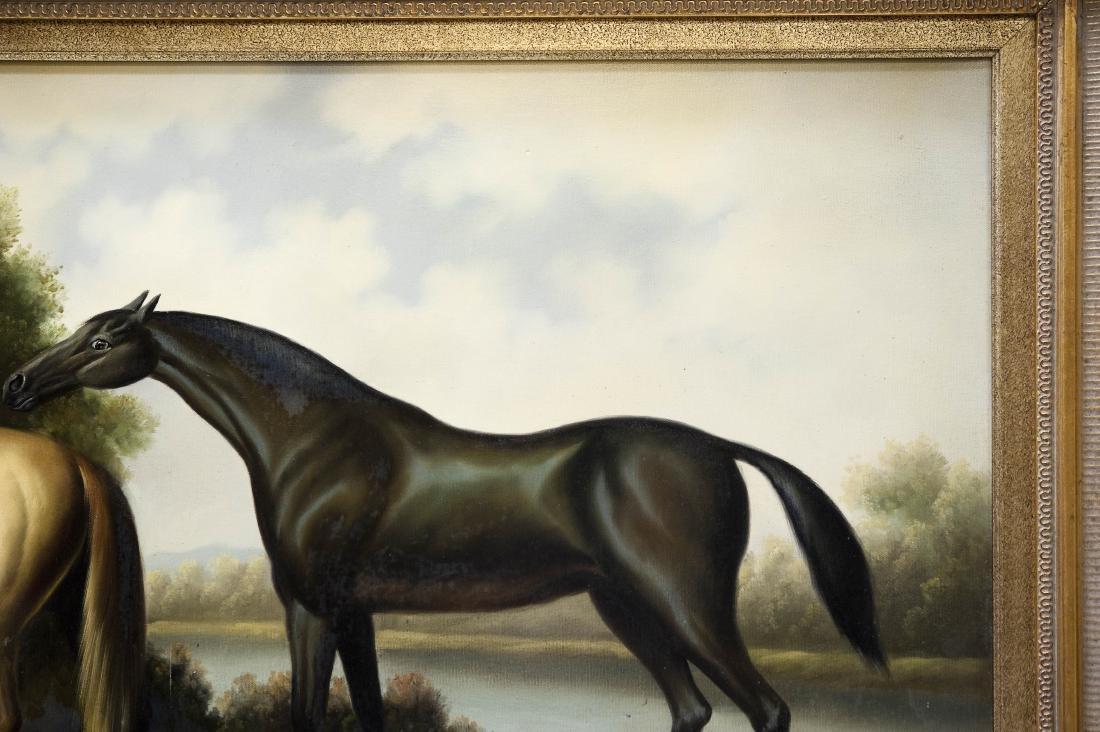 Gilt Framed Oil on Canvas, Two Horses. - 7
