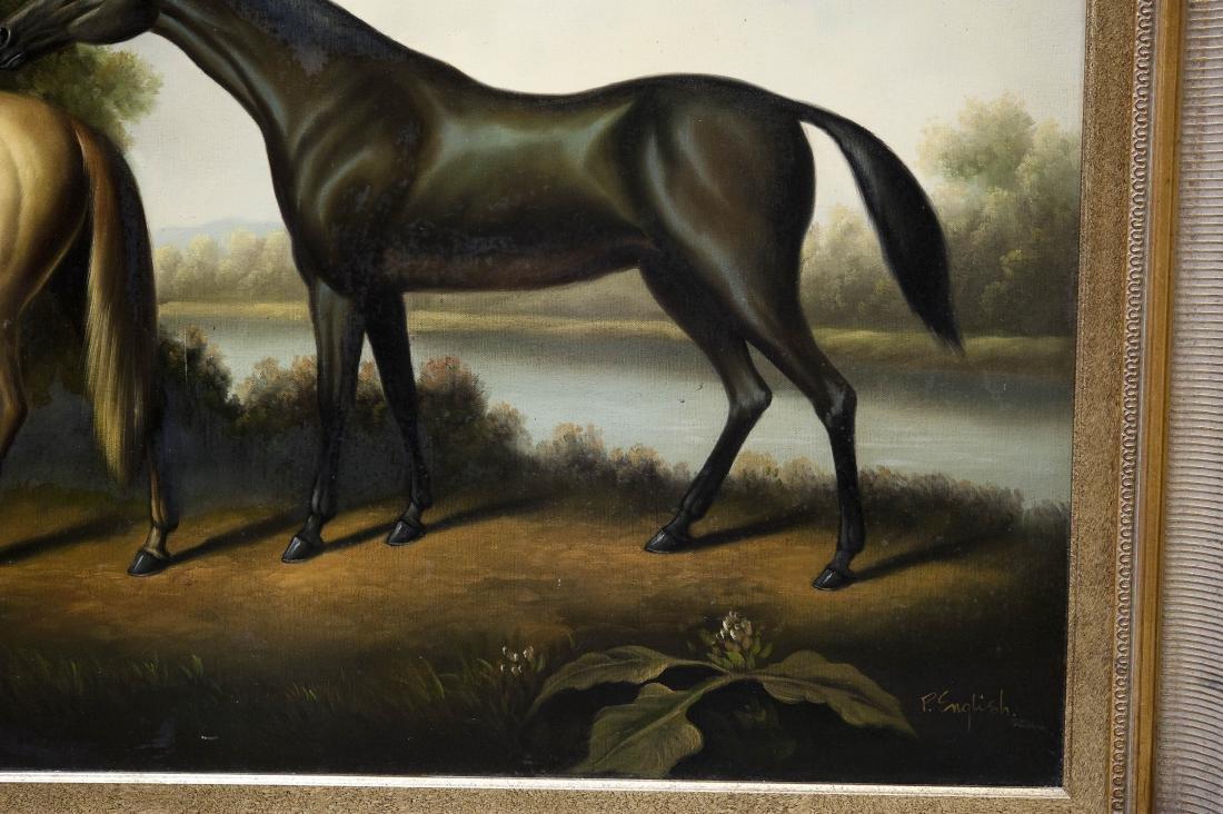 Gilt Framed Oil on Canvas, Two Horses. - 8