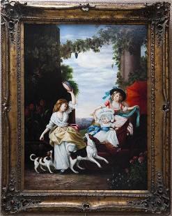 Gilt Framed Oil on Canvas Tambourine Dancer