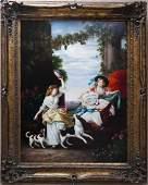 Gilt Framed Oil on Canvas, Tambourine Dancer.