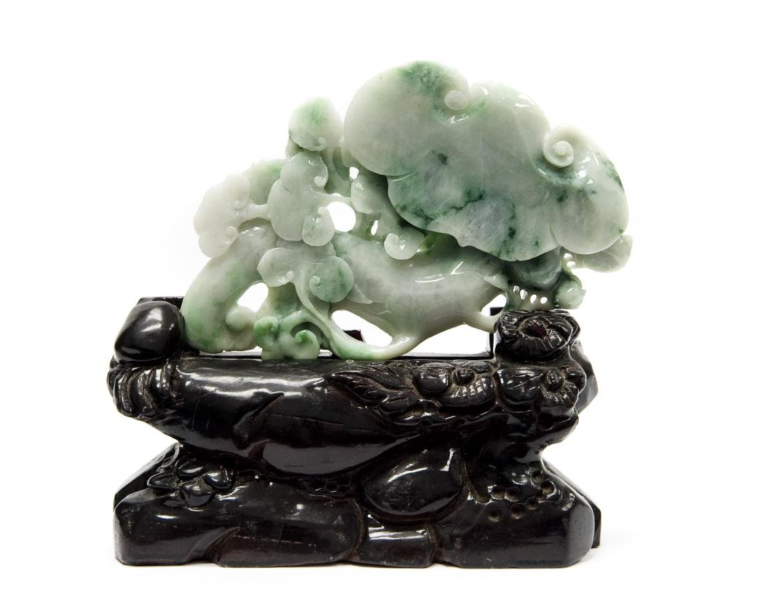 Chinese Carved Hard Stone Sculpture on Stand.