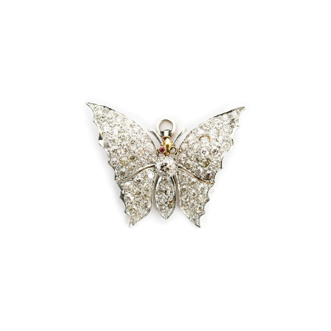 Diamond Butterfly Brooch / Pendant.