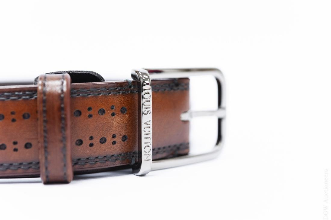 Louis Vuitton Brown Leather Belt. - 4