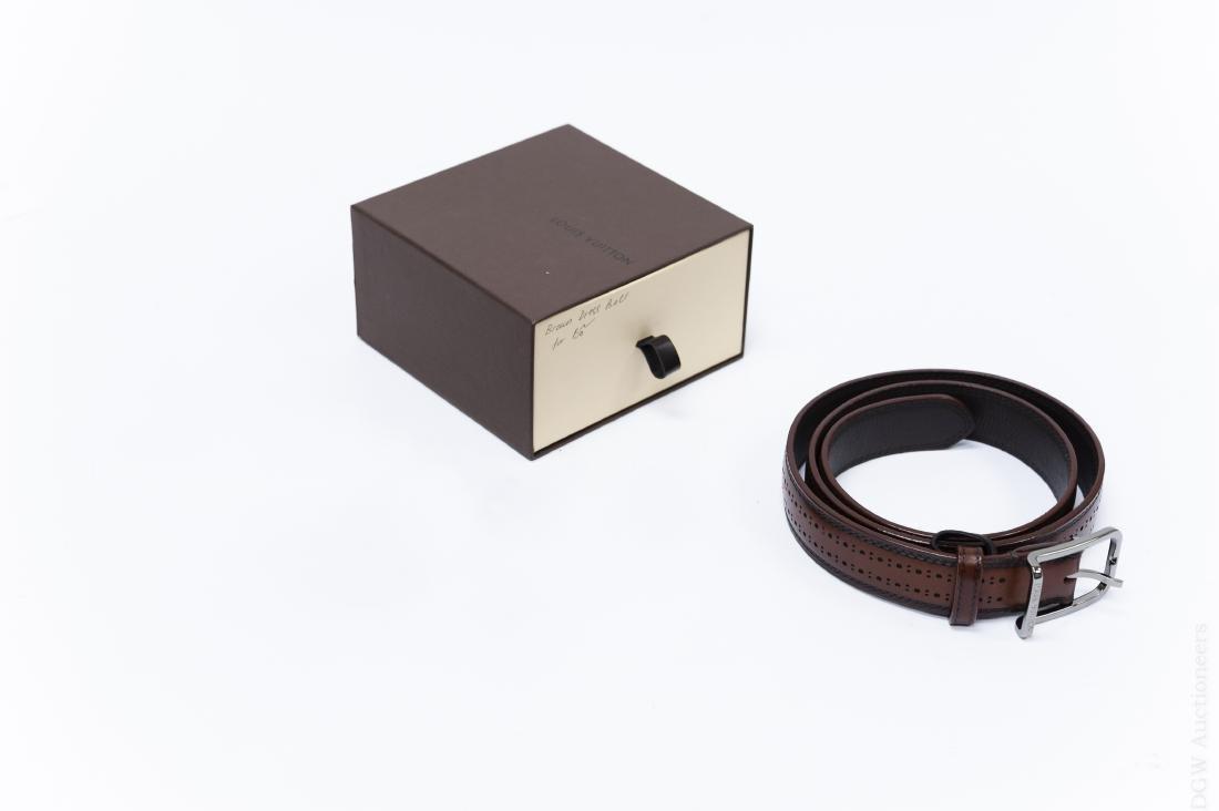 Louis Vuitton Brown Leather Belt. - 5