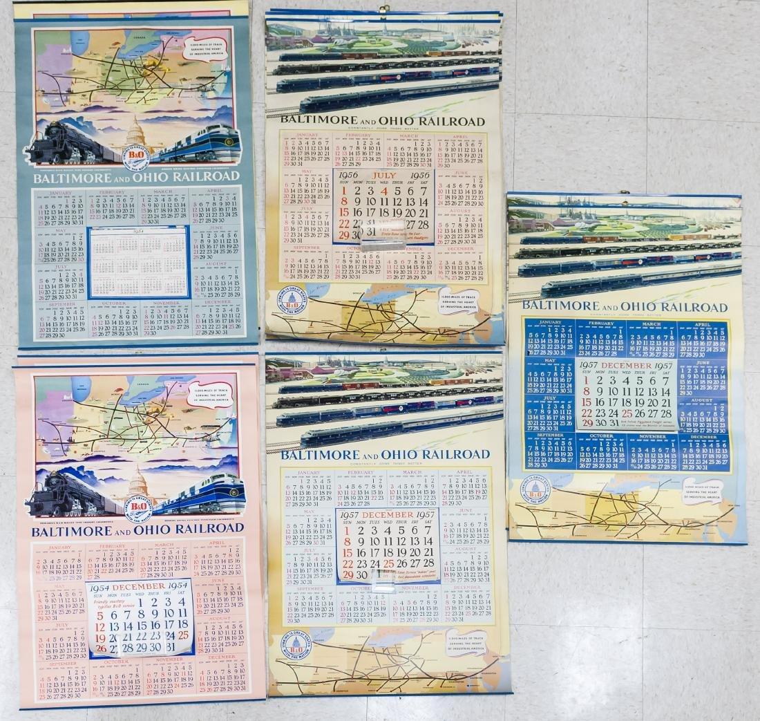 (11) Baltimore & Ohio Railroad 1950s Calendars.