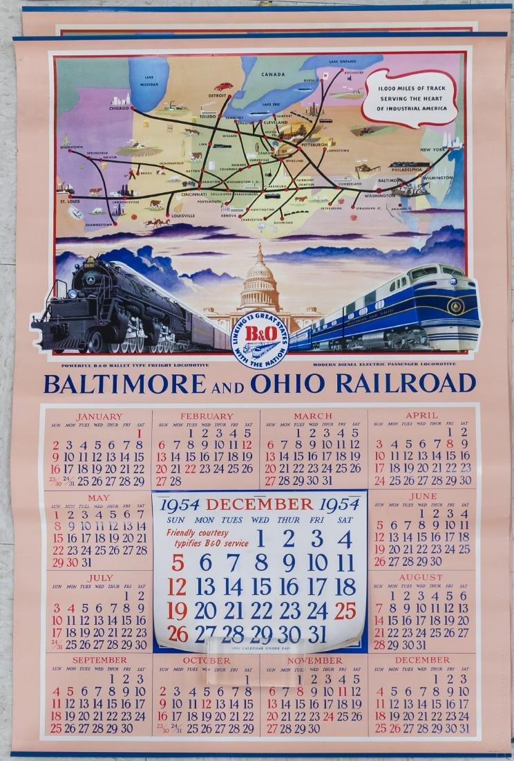 (11) Baltimore & Ohio Railroad 1950s Calendars. - 2