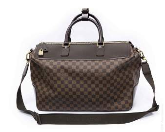 Louis Vuitton Damier Ebene and Leather Travel Bag.