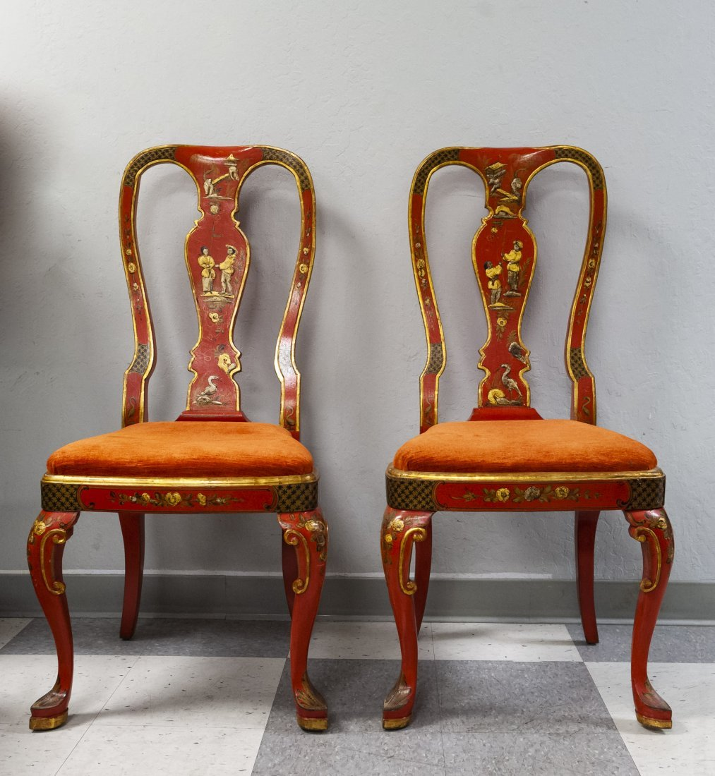 Pair of Japonesque Queen Anne Style Chairs.