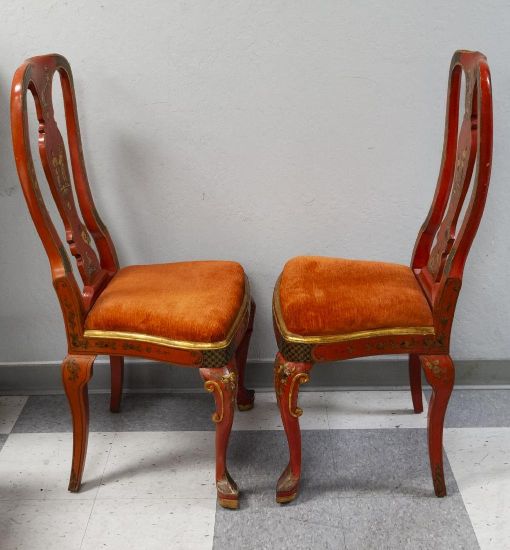 Pair of Japonesque Queen Anne Style Chairs. - 2
