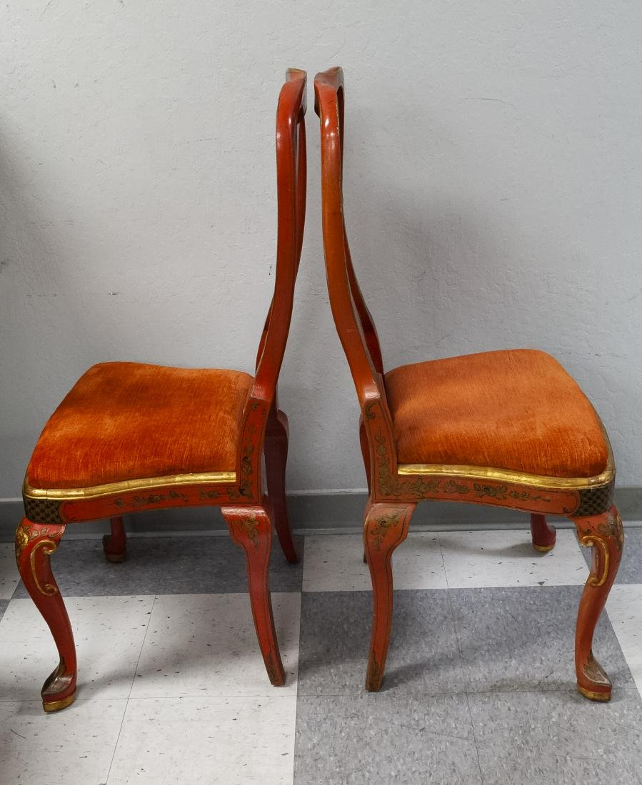 Pair of Japonesque Queen Anne Style Chairs. - 4