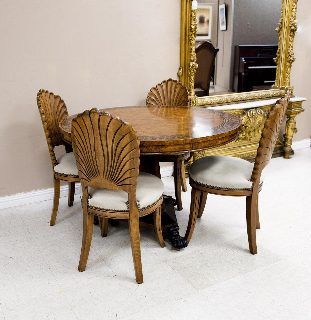 Baker Pedestal Table and Set of Four Chairs.