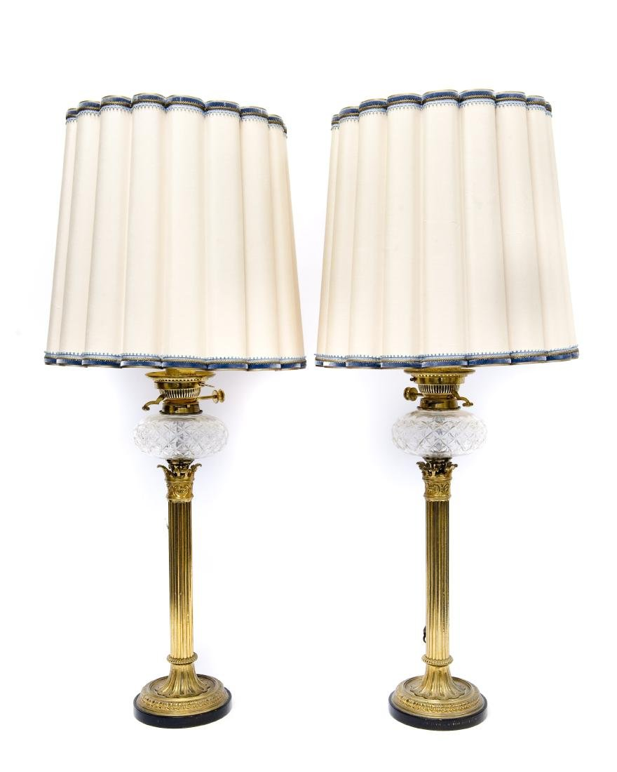 Pair of 19th C, Gilt Bronze Fluted Table Lamps.
