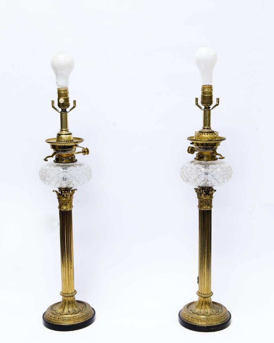 Pair of 19th C, Gilt Bronze Fluted Table Lamps. - 2