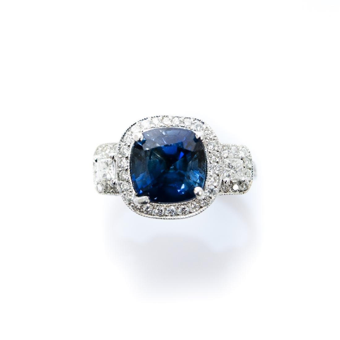 Ladies Platinum, Diamond and Sapphire Ring.