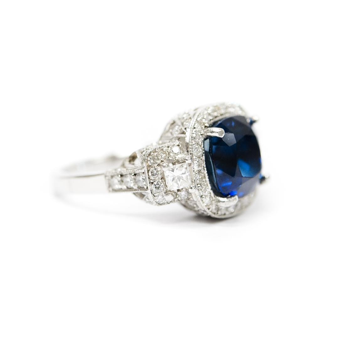 Ladies Platinum, Diamond and Sapphire Ring. - 2