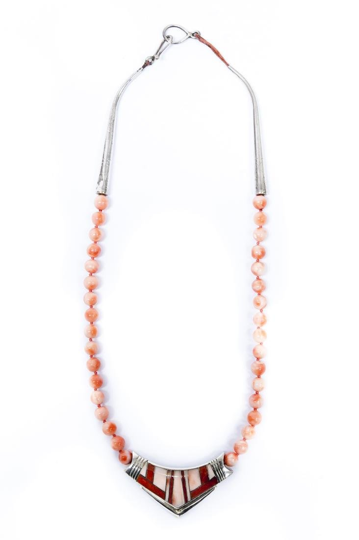 Tracey Knifewing Sterling & Inlay Beaded Necklace.