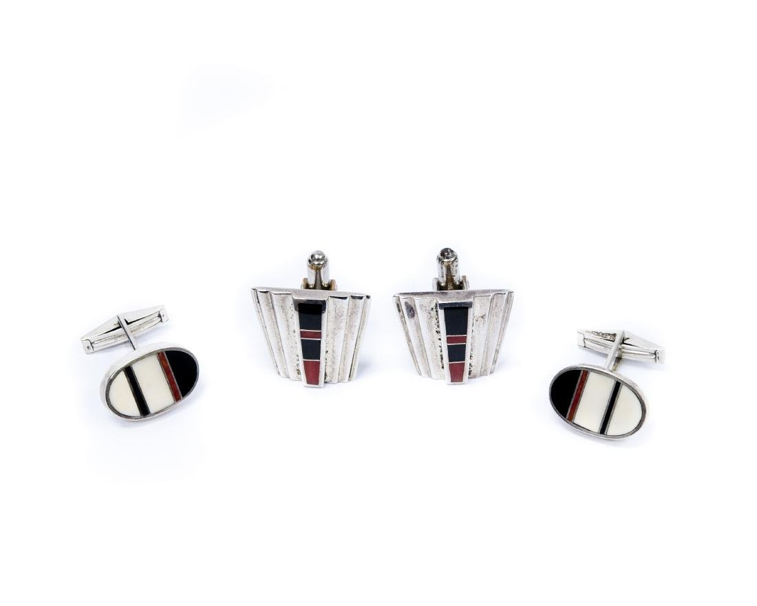 (2) Pairs of Tracey Knifewing Silver & Inlay Stone Cuff