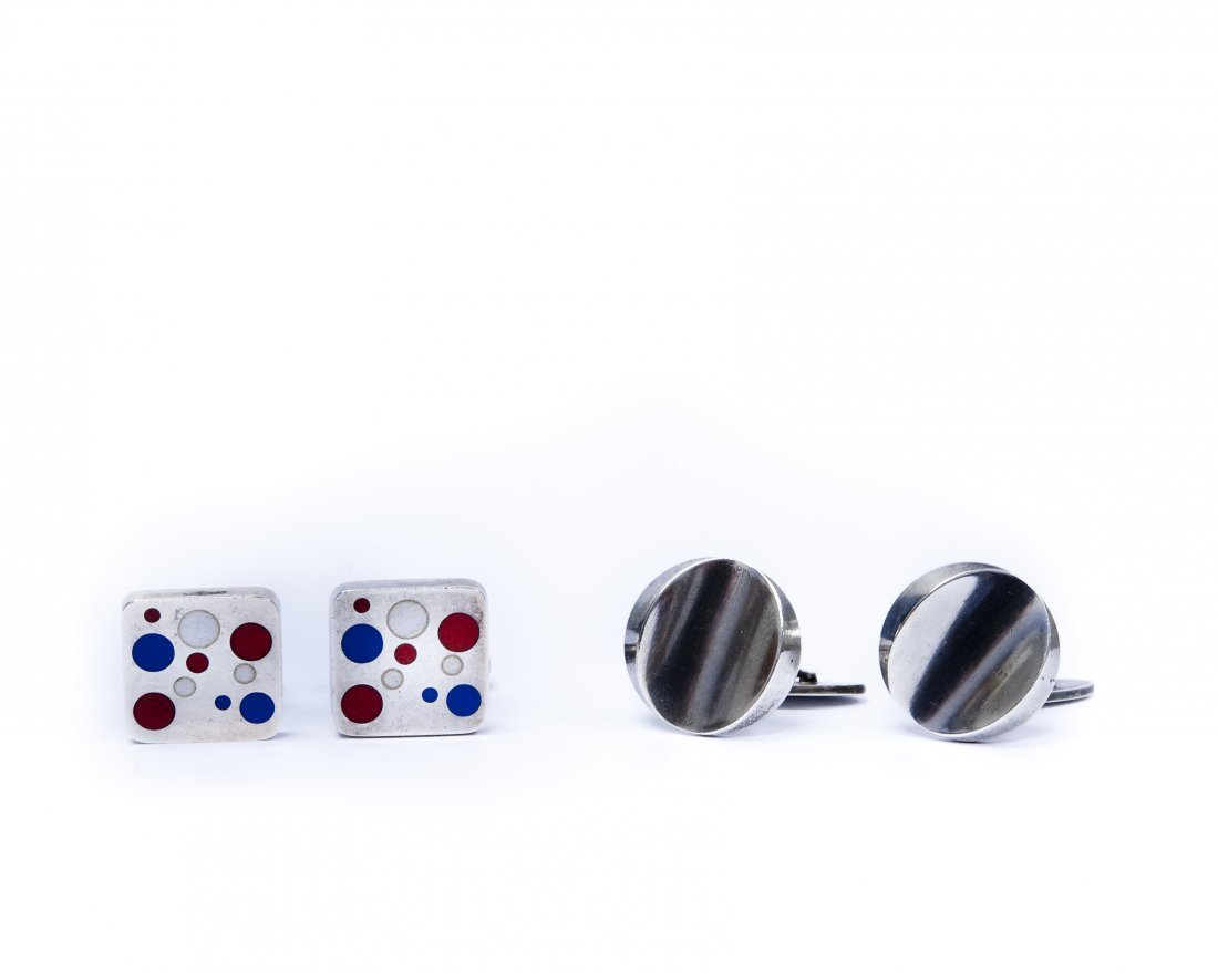 (2) Pairs of Georg Jensen Sterling Silver Cuff Links.