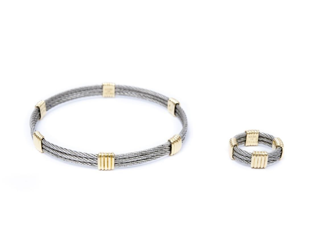 Fred Paris, Force 10, 18K Gold & Steel Bracelet & Ring.