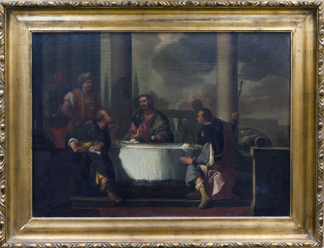 Gilt Framed Oil on Canvas, Biblical Scene.
