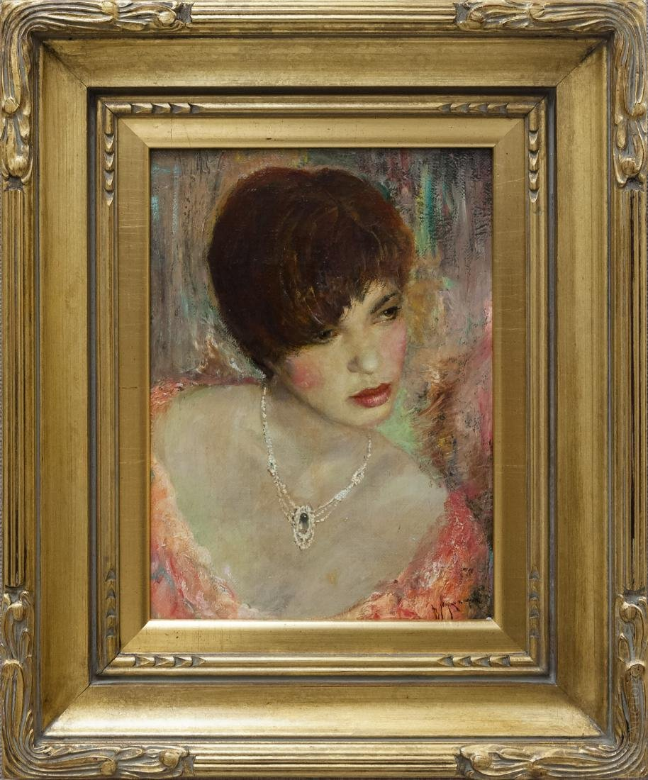 Vladimir Muhin Oil on Board, Girl with Necklace.