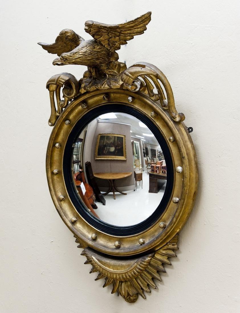 18th Century Federal Gilt Carved Girandole Mirror.