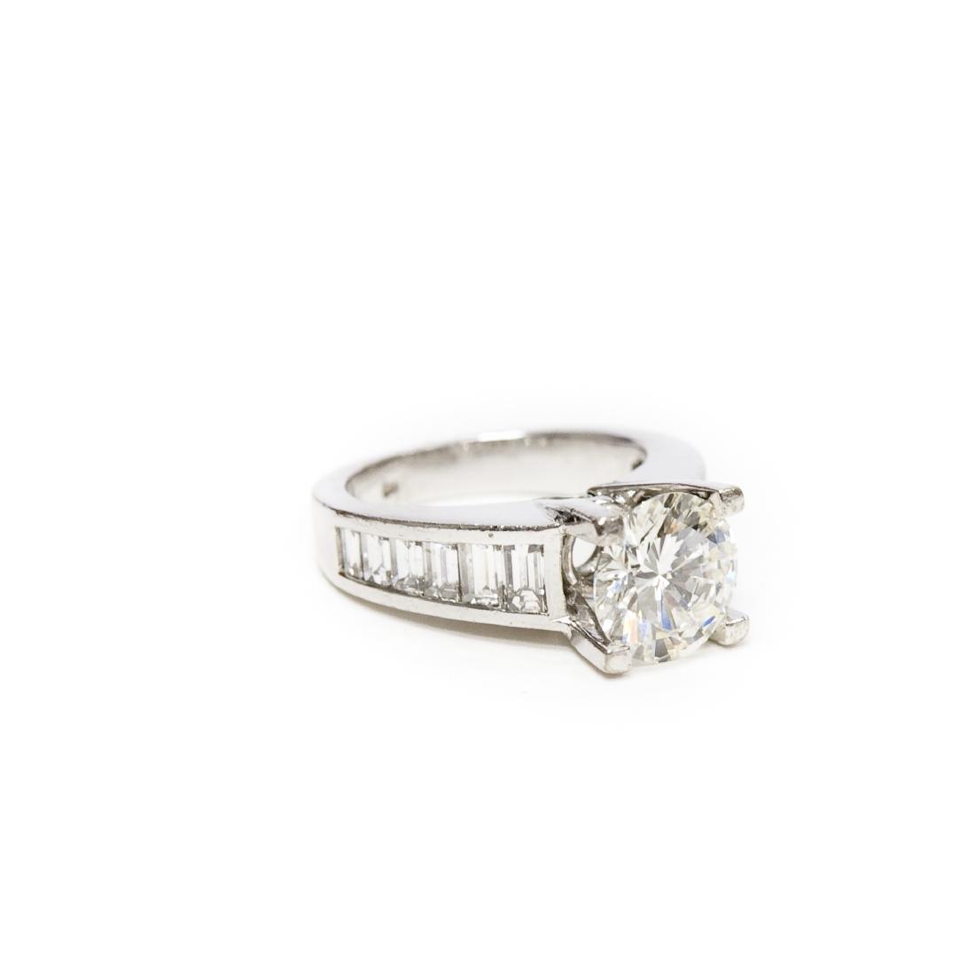 18K White Gold & Diamond Ring. 2.17 ct Center Diamond. - 3