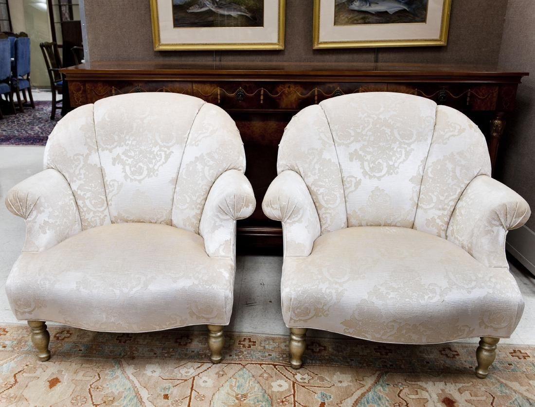 Pair of Swain Fan Back Armchairs.