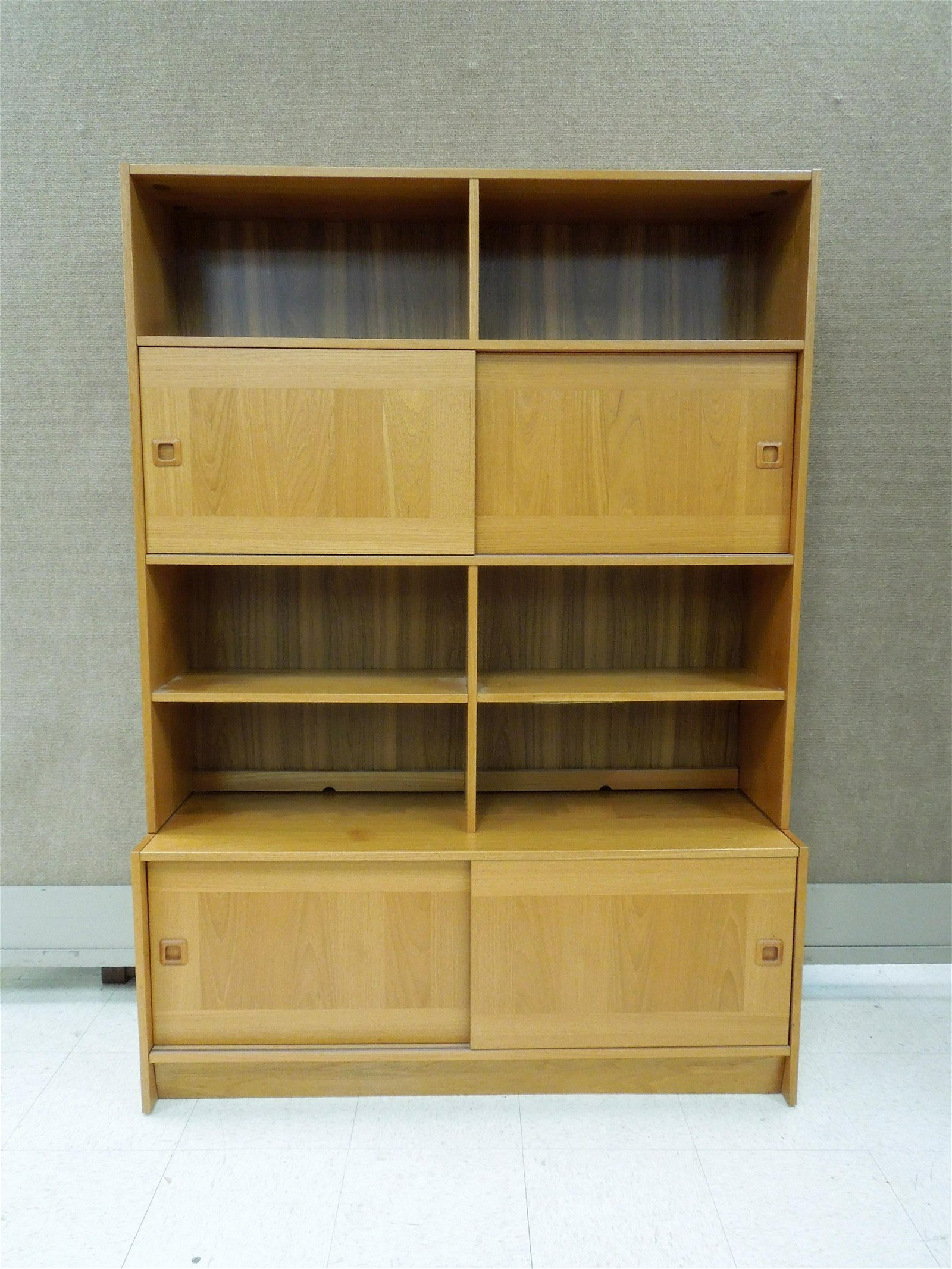 Domino Mobler Danish Teak 2-section Bookcase / Cabinet.