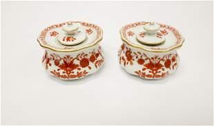 Pair of Late 19th C. Meissen Inkwells.