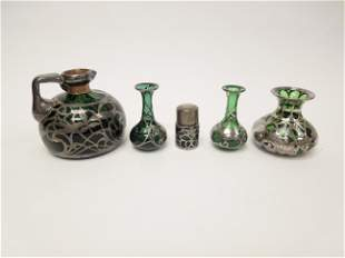 (5) 19th C. Green Glass and Silver Overlay Items.