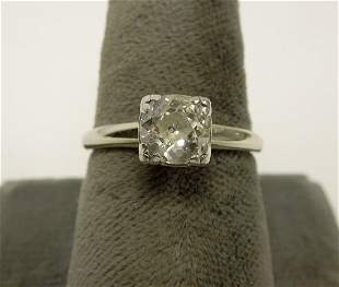 14k White Gold & Solitaire Diamond Ring.